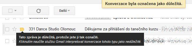 Označení zprávy jako důležité na Gmail.com
