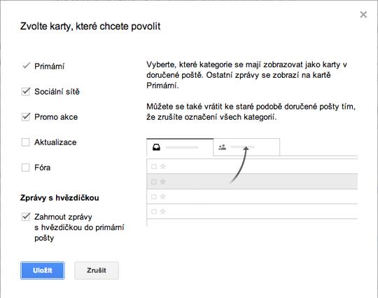 Zrušení záložek na Gmail.com